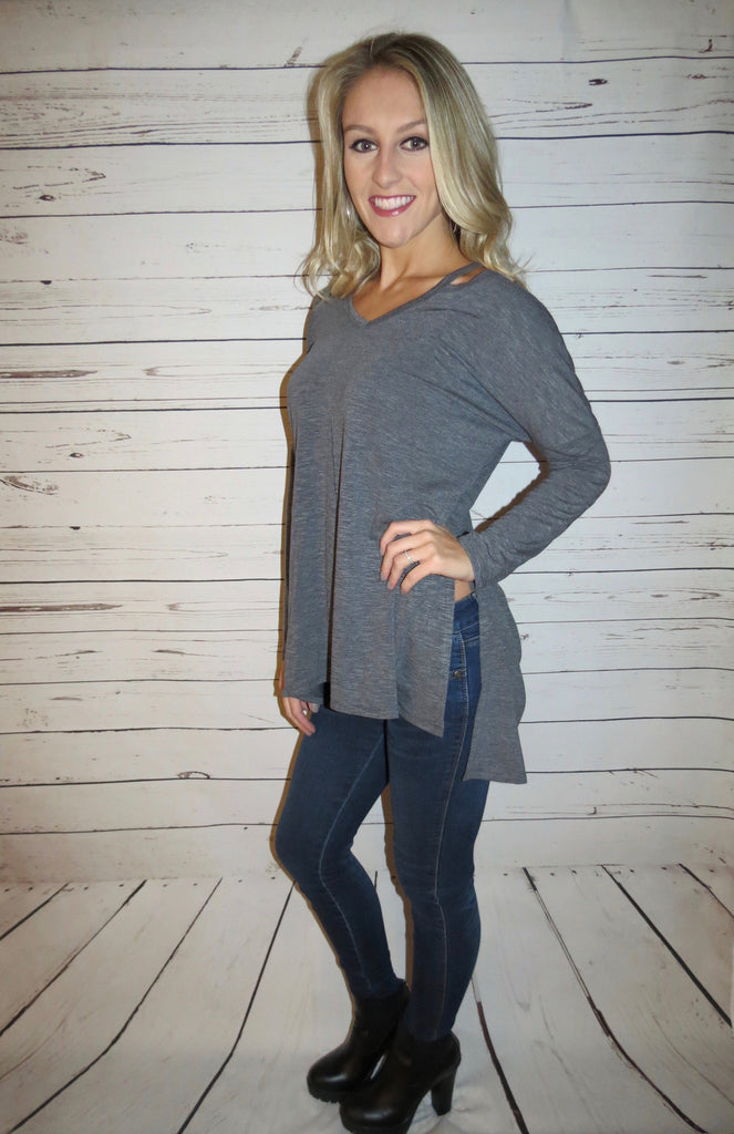 Grey Long Sleeve Tunic Top