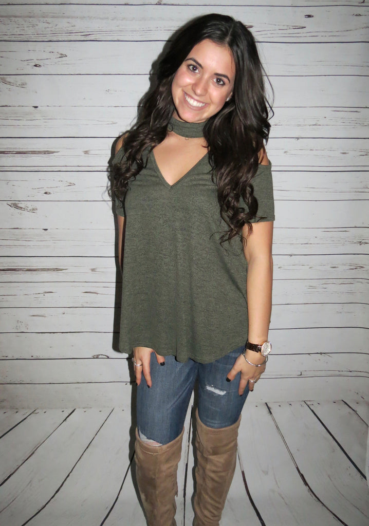 Choker Neck Top - Olive