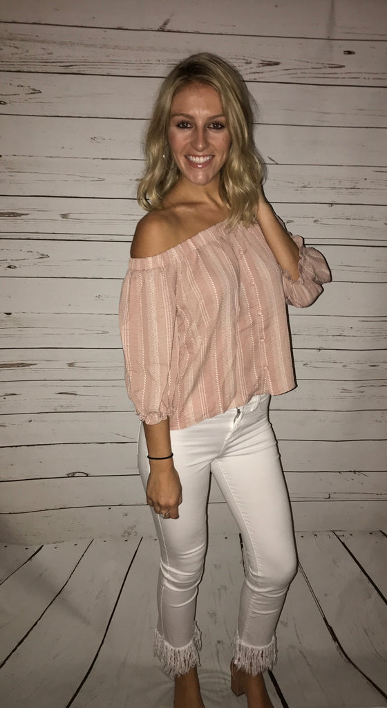 Pink & White Striped OTS Top