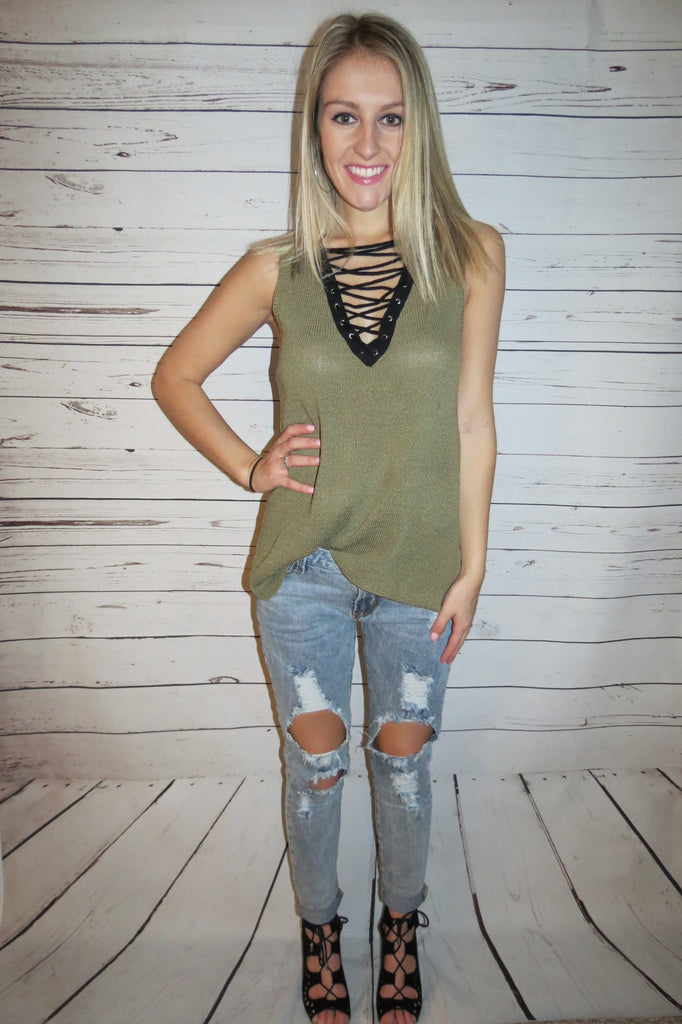 Lace Up Olive Knit Sleeveless Top