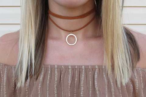 Circle Wrap Choker - Tan