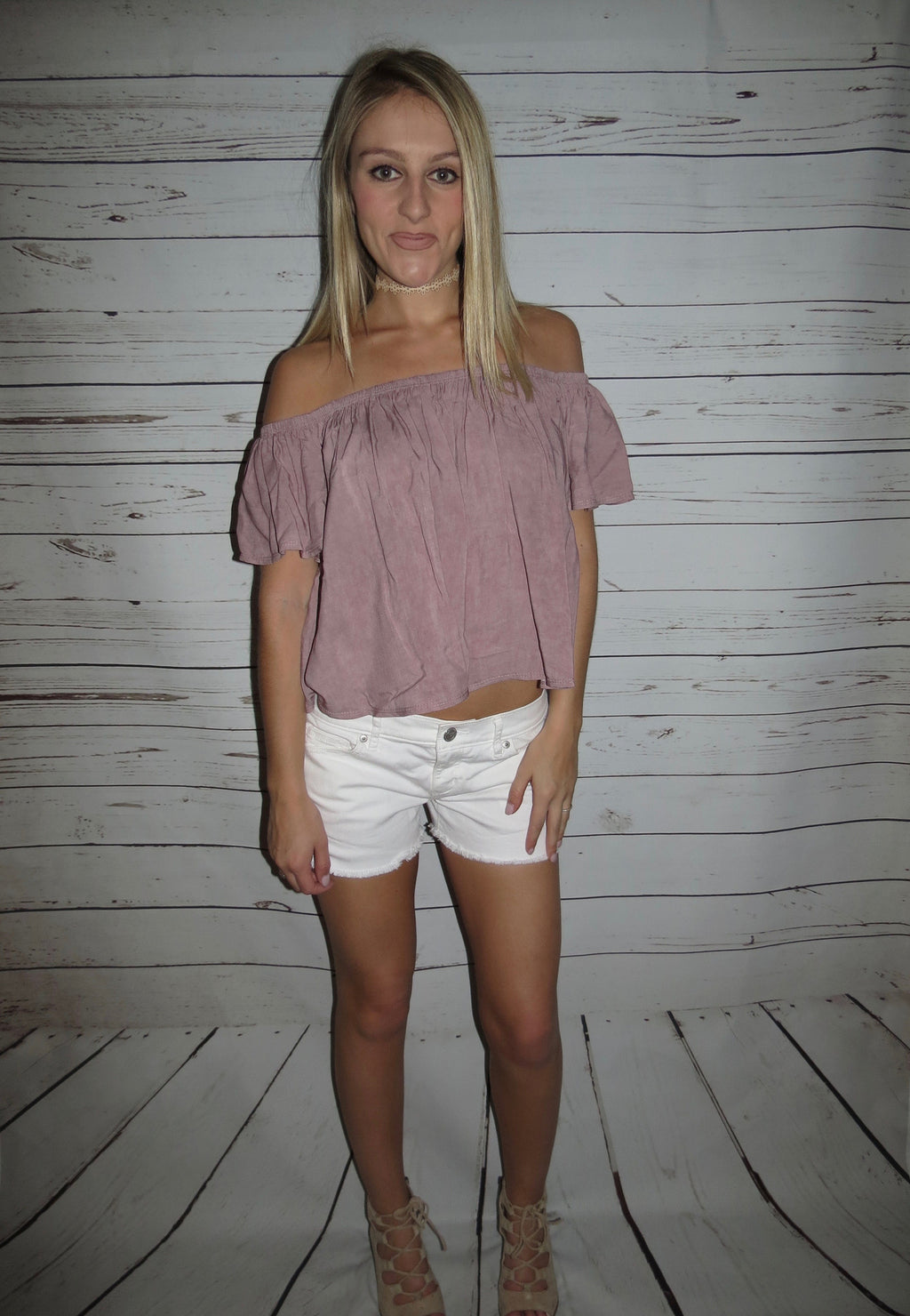 Mineral Washed OTS Cropped Top - Pink