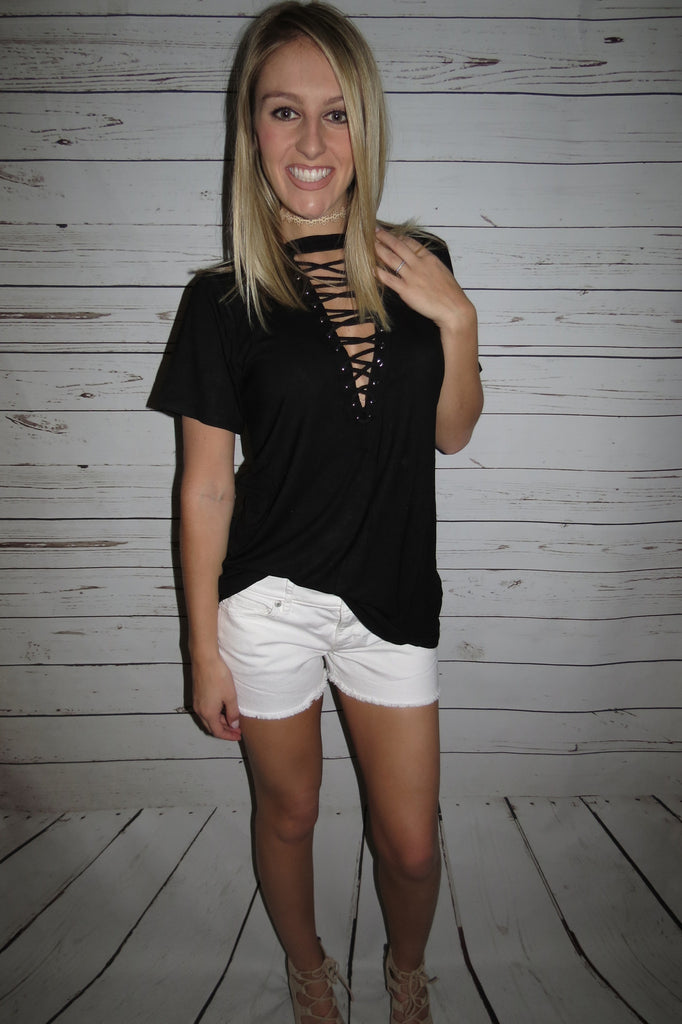 Black Lace Up Tee