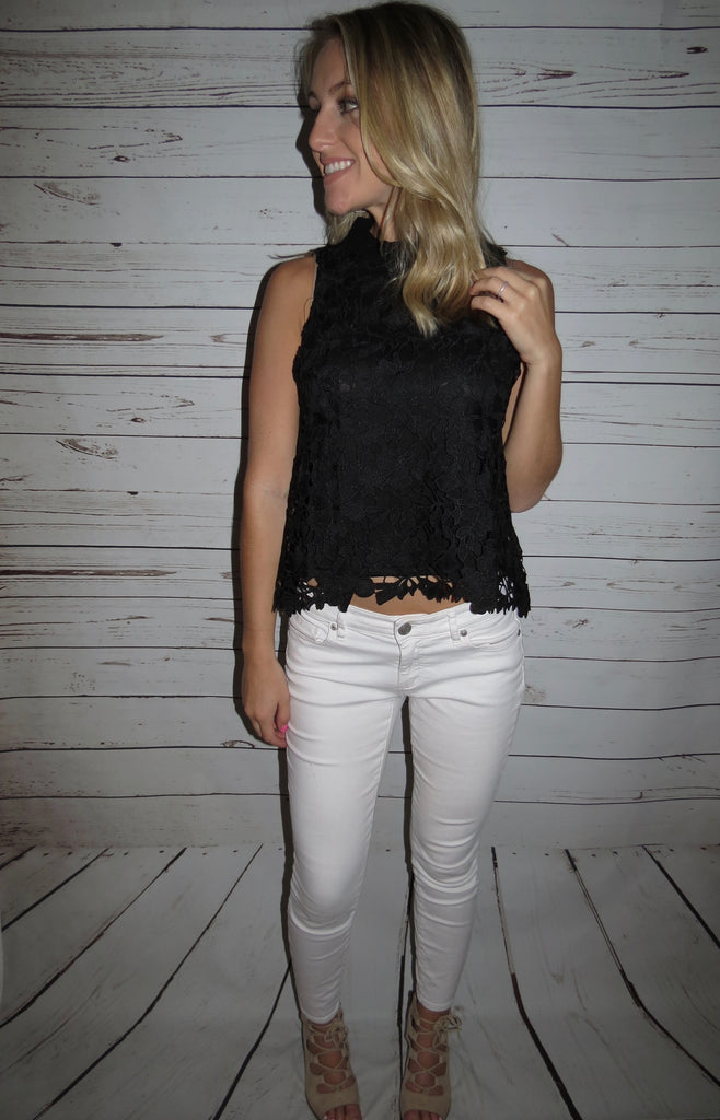 High Neck Lace Top - Black