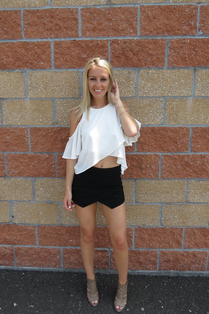 Cold Shoulder Ruffle Top - Off White