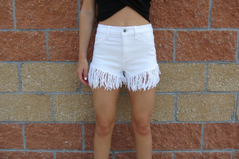 Frayed White Denim Shorts