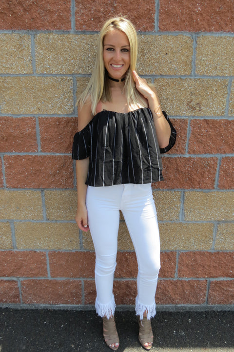 Black Striped Off the Shoulder Top