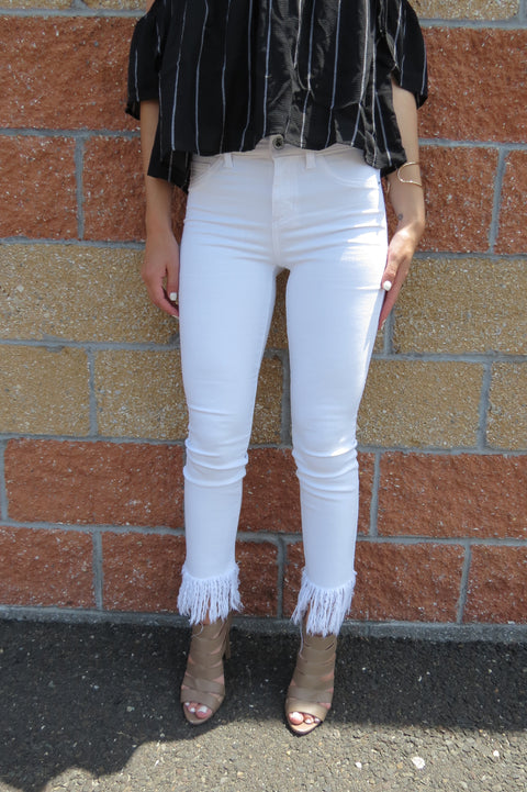 White Frayed Denim Jeans
