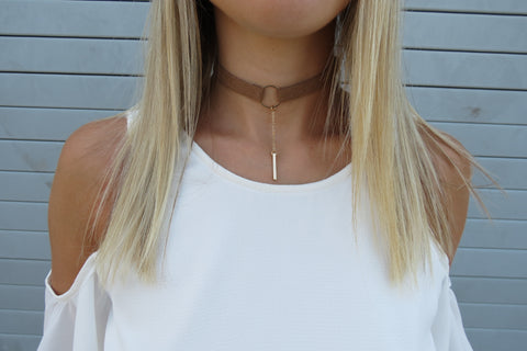 Drop Bar Choker - Tan