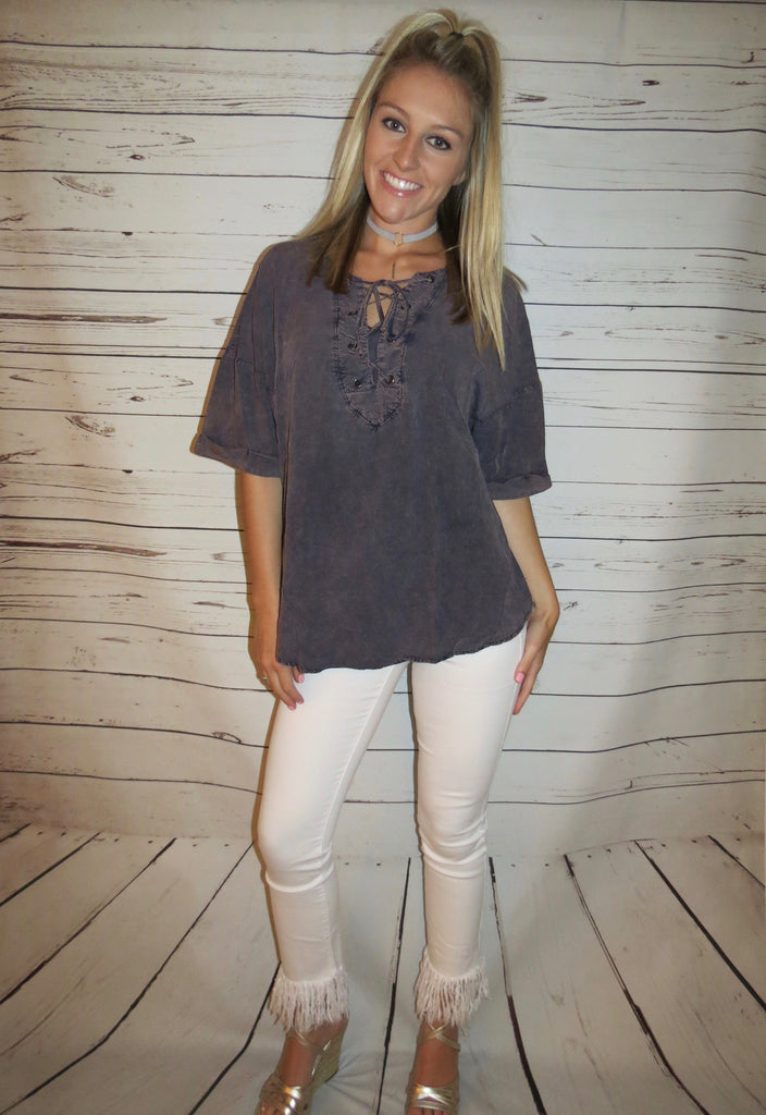 Stone Washed Lace Up Top