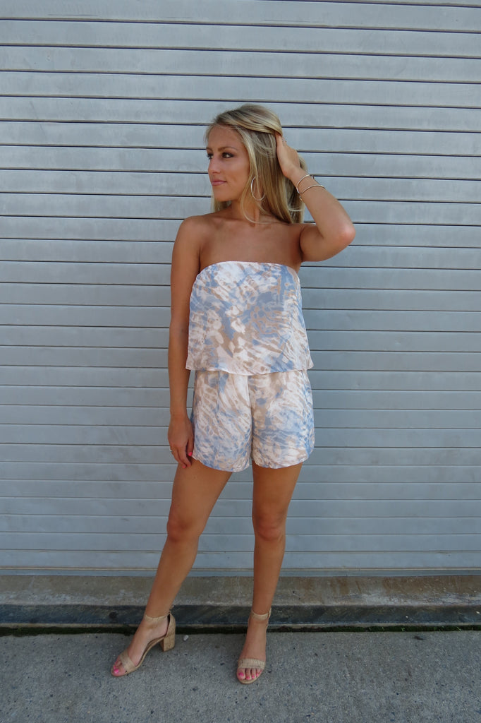 Light Blue Tie Dye Romper