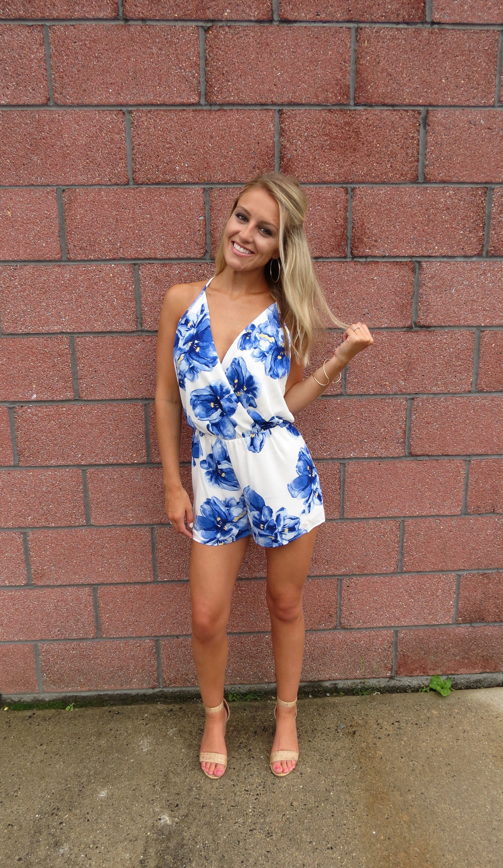 Royal Blue Floral Romper