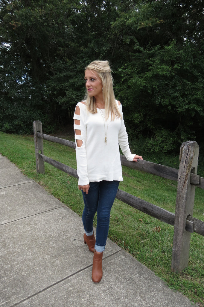 Cutout Long Sleeve Sweater - Off White