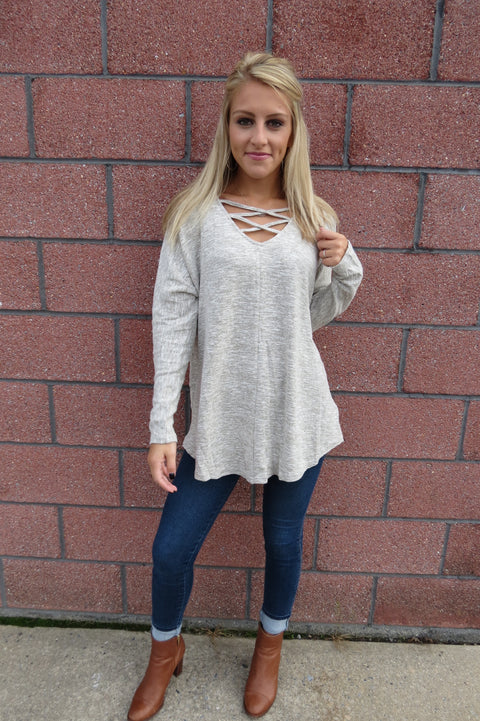 Long Sleeve Crisscross Top - Stone