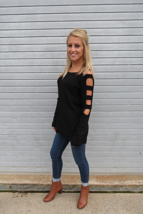 Cutout Long Sleeve Sweater - Black
