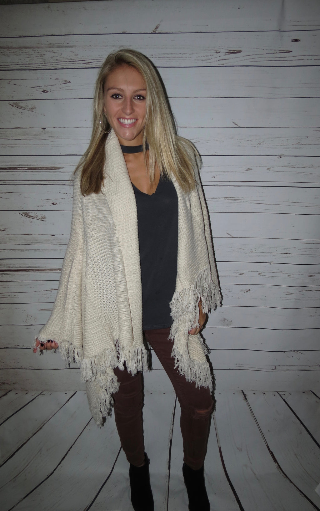 Cream Cardigan with Fringe