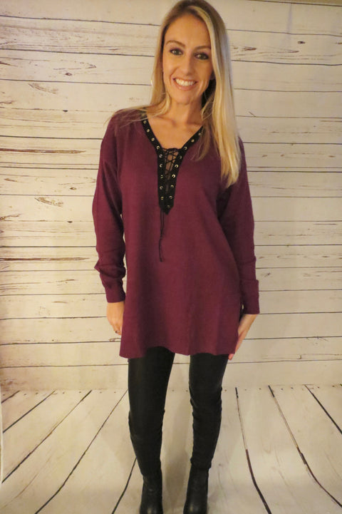 Long Sleeve Lace Up Sweater - Wine