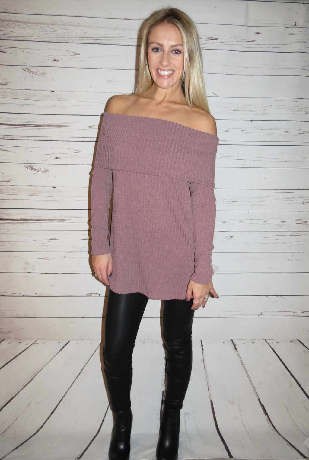 Mauve Off the Shoulder Sweater