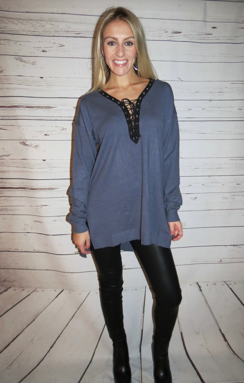 Long Sleeve Lace Up Sweater - Dolphin