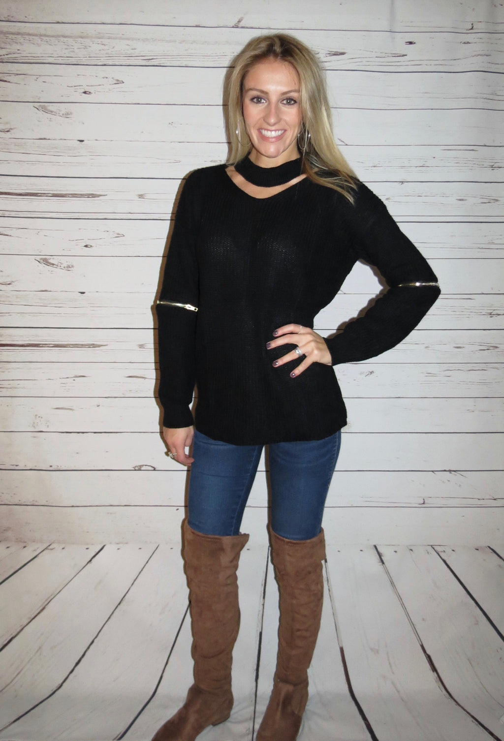 Black Sweater with Zippers