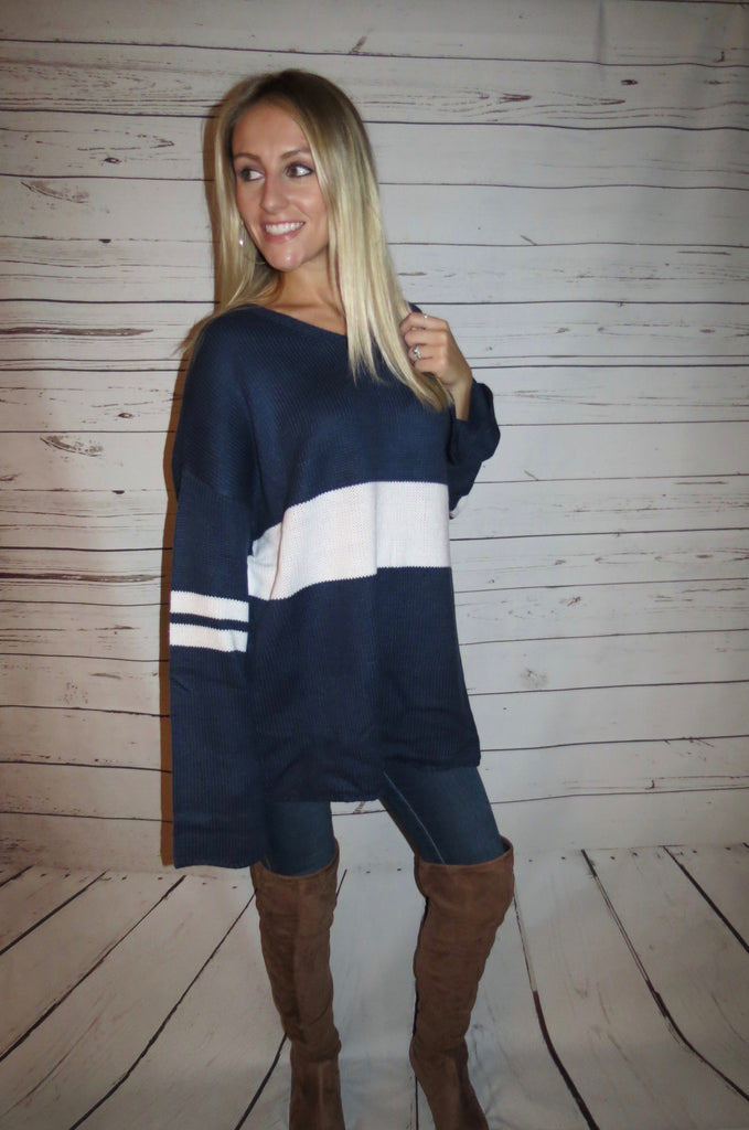 Navy Varsity Sweater
