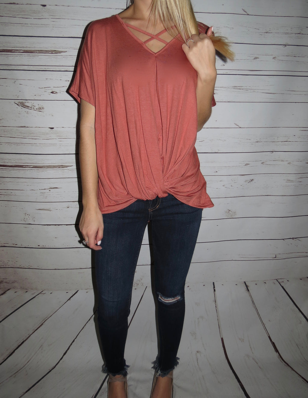 Marsala Knotted Top