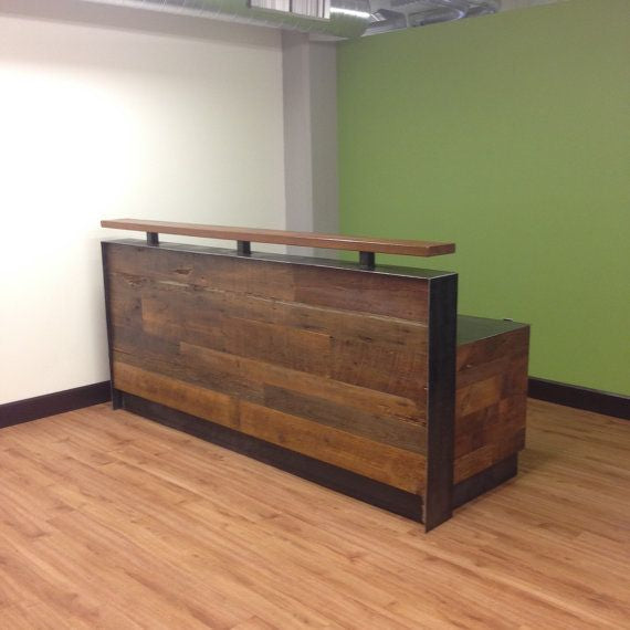 215 Reclaimed Wood Steel Reception Desk