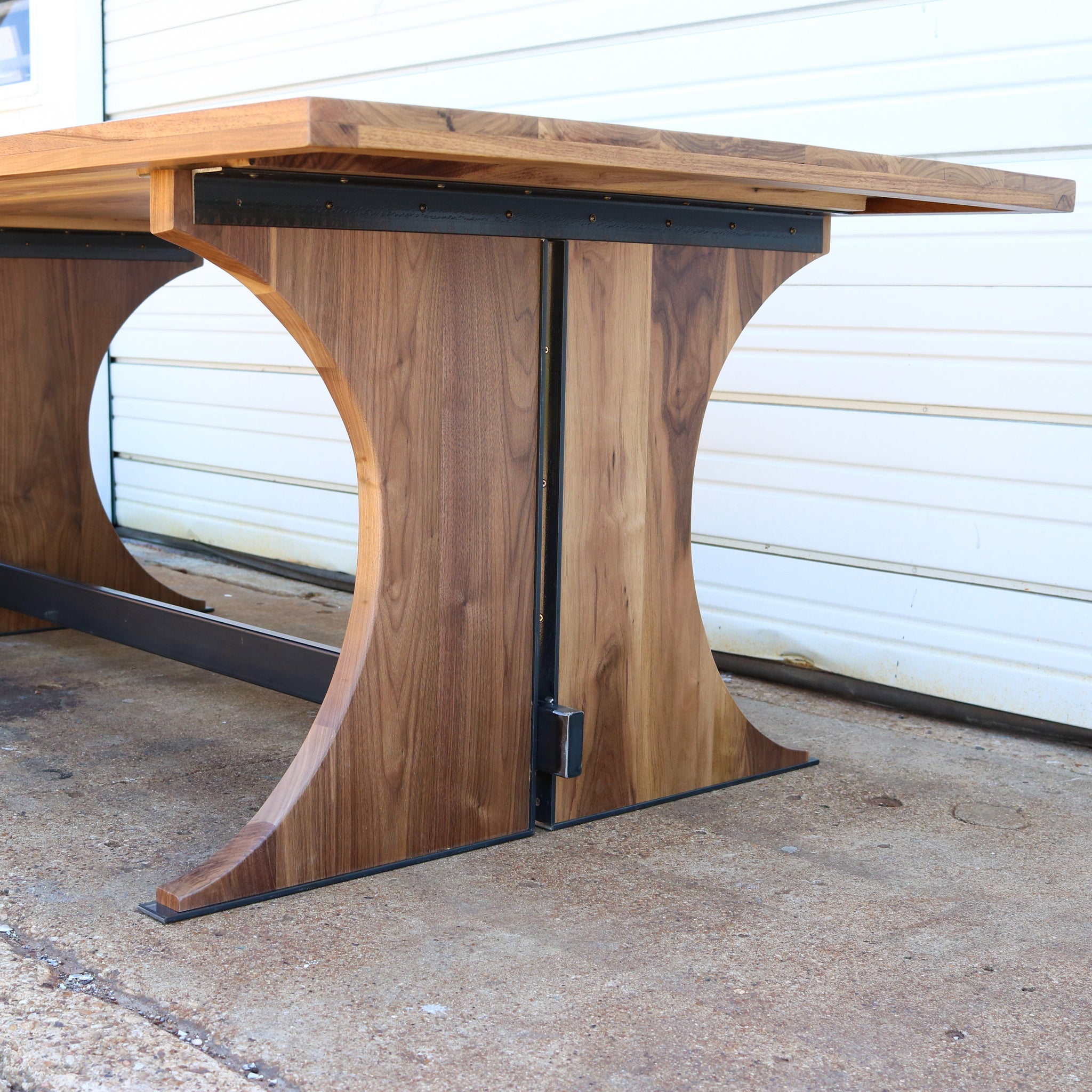 100 WALNUT STEEL TRESTLE TABLE (SPECIAL ITEM)