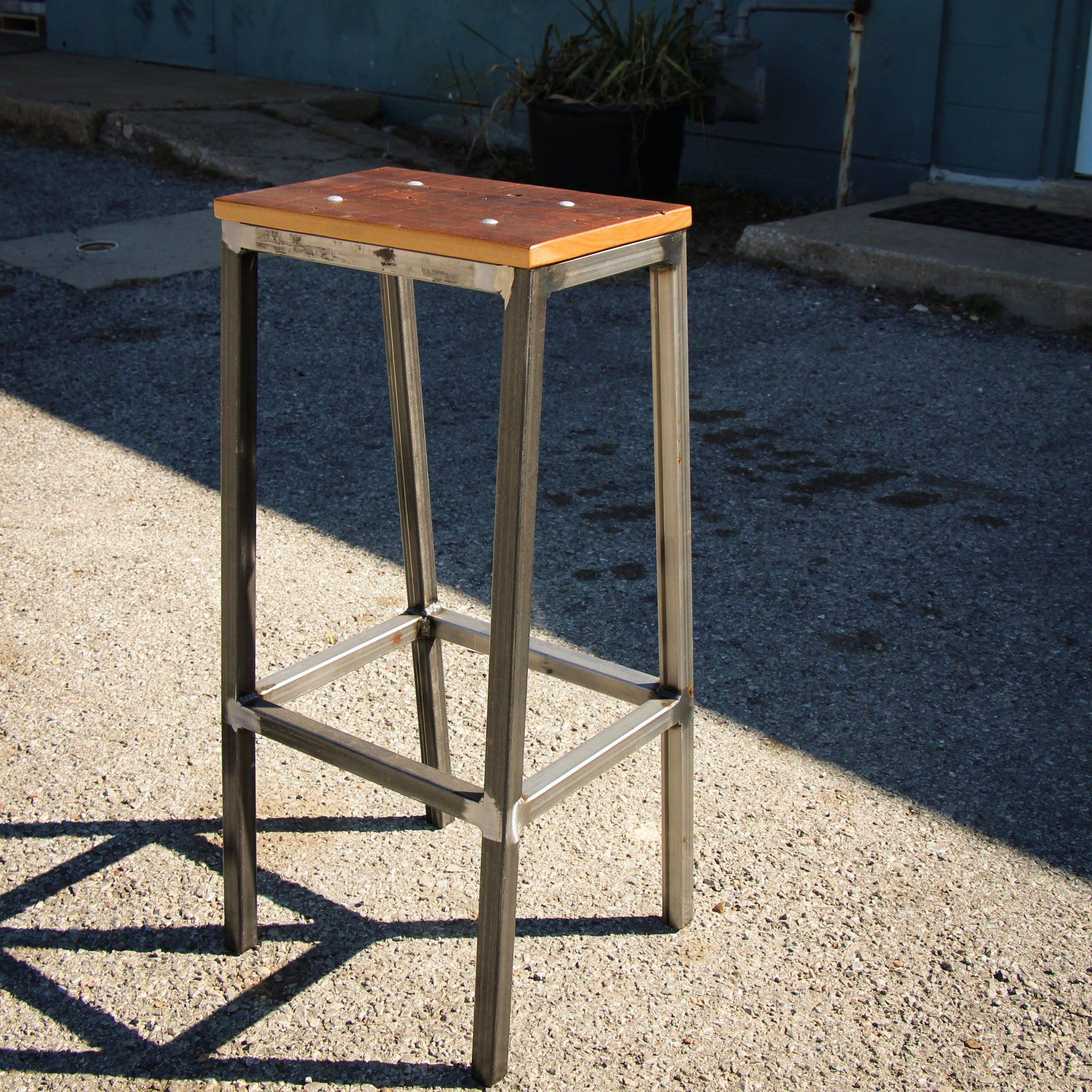403 RECLAIMED CYPRESS AND STEEL BAR STOOL