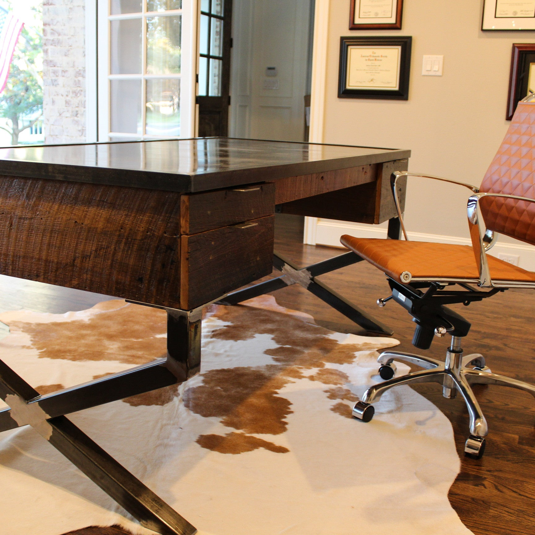 210 RECLAIMED WOOD DESK WITH STEEL TOP AND X FRAME LEGS