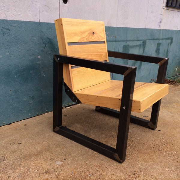 401 RECLAIMED CYPRESS & STEEL OUTDOOR CHAIR