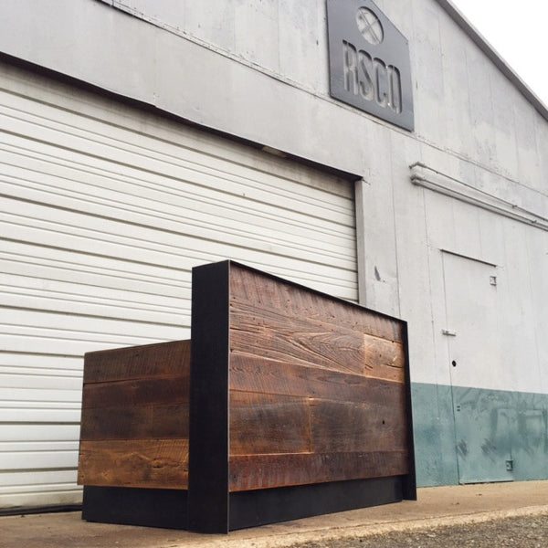 211 Reclaimed Wood Amp Steel Reception Desk Revival Supply Co