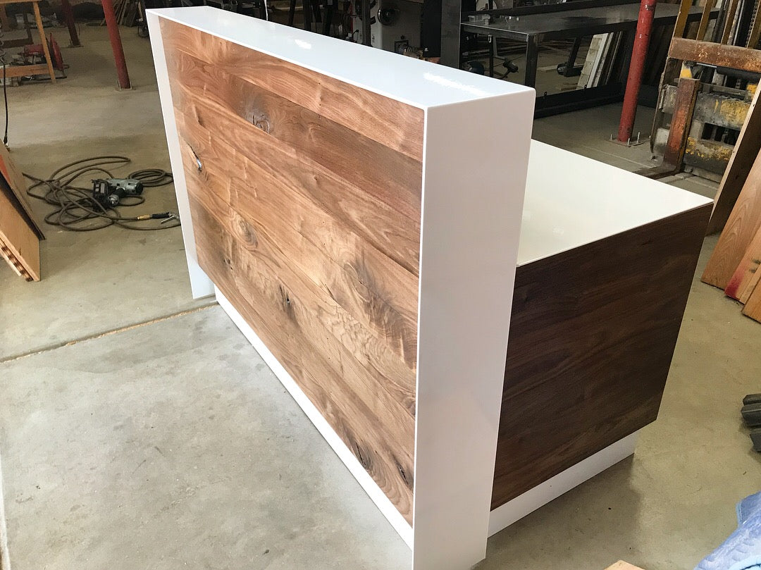 Jamie White & Walnut Reception Desk with Conference Table