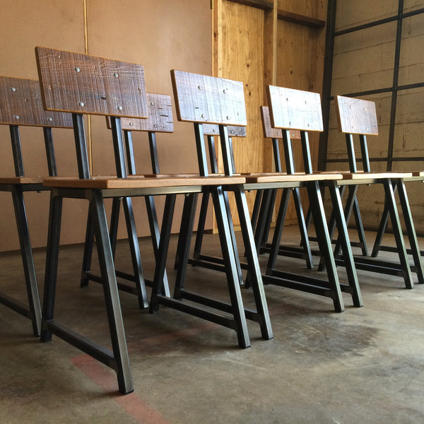 402 RECLAIMED CYPRESS & STEEL CHAIR