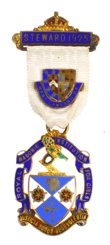 Hallmarked Silver Royal Masonic Institute For Girls 1925 Stewards Jewel Medal