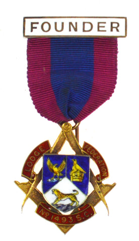 Hallmarked Silver Gilt & Enamel Federation Lodge Founders Masonic Jewel Medal