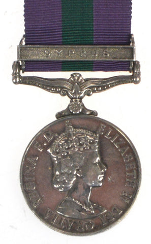 General Service Medal (Cyprus) - 23433555 Pte G Brown, Middlesex Regiment