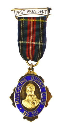 Hallmarked Silver & Enamel 1931 Mauchline Burns Club Past President Award Medal