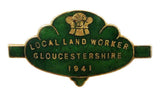 World War Two 1941 Gloucestershire Local Land Workers Enamel Badge
