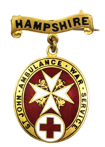 World War One St Johns Ambulance Hampshire On War Service Enamel Brooch Badge