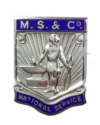 World War Two MS & Co Numbered National Service Enamel Badge Brooch