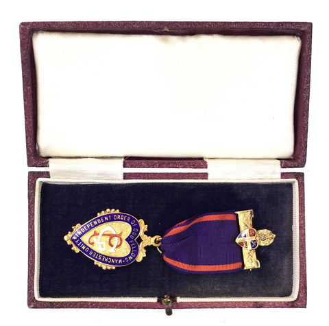 Cased Independent Order Of Oddfellows 9ct Gold & Enamel 1937 Presentation Medal