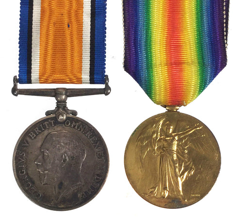 World War One British War & Victory Medals - 11900 Pte G Button, Wiltshire Regiment