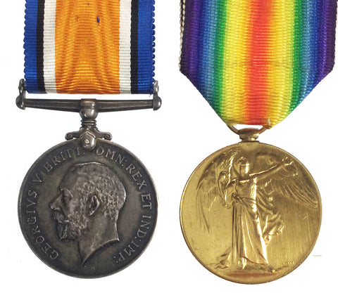 World War One BW/VIC Medal Pair - 122586 Gnr E Kitching, Royal Artillery