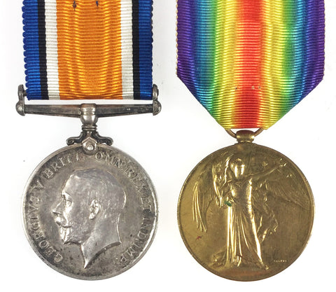 World War One War & Victory Medal Pair - 33640 Pte B C Pearson, Yorkshire Regiment