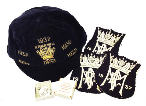 Royal Navy & Royal Marines Football Association 1930 Players Award Cap, Badges & Medal