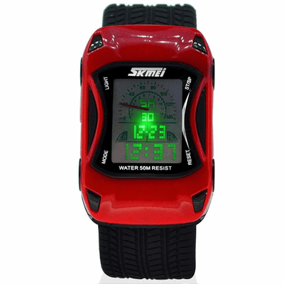 Skmei Kids Silicone Jelly Waterproof Swim Sport Car Style Digital Led Cartoon Watch For Boys
