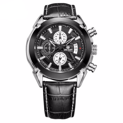Megir Men's Sports Quartz Chronograph 24 Hours Function Leather Men's Army Military Watch