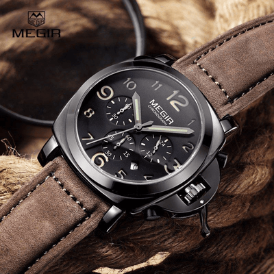 Men's Leather Strap Chronograph Watch - MM Watch 4U Store | Quality & Style