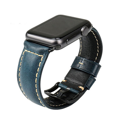 Oil Wax Blue Leather Strap with Black Buckle Watchband For Apple Watch(42mm & 38mm) 3, 2 & 1. - MM Watch 4U Store | Quality & Style